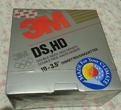 """3M DS HD 3.5"""" diskettes pack of 10 1.44mb. Factory sealed. Free postage"""