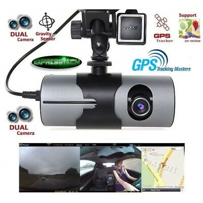 Nuova DVR Camera-Dash Cam Video Recorder Dual Lens con GPS Camera HD-G-Sensor w/