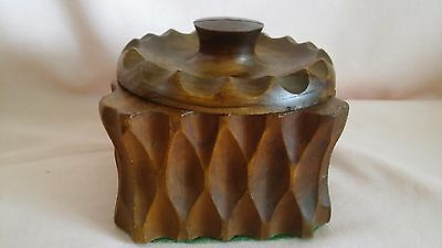 VINTAGE 1940,s HAND CARVED WOODEN POT WITH A PLASTIC LINER  IN LOVELY CONDITION.