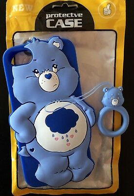 New Care Bears Grumpy Bear iPhone 6 8 Case W/ Finger Ring Attachment