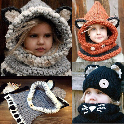 Children Boys Hooded Hat and Scarf Kids Set Warm Winter Hat with Scarf Lining UK