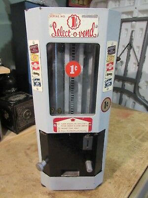 ORIGINAL 1940's SELECT-O-VEND 1cent HERSHEYS, BEECHNUT, DENTYNE, CANDY MACHINE