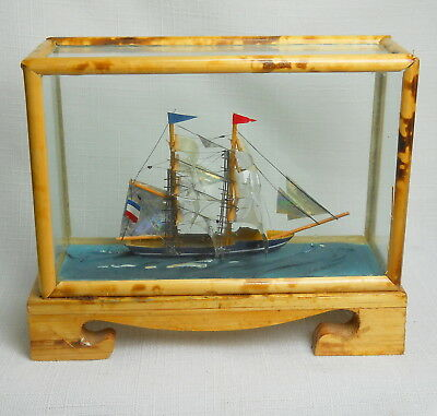 Amazing Tiny Handcrafted Ship in Small Case Brought Back From JAPAN After WWII
