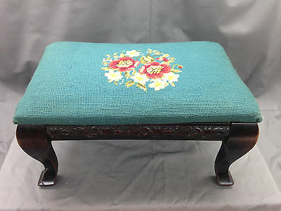 Antique Wood Needlepoint Foot Stool Embroidered Tapestry Teal Floral