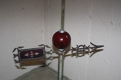 ANTIQUE VINTAGE GLASS DIRECTIONAL ARROW LIGHTNING ROD BALL WEATHERVANE 23 inches