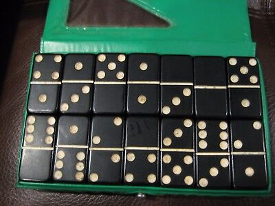 VINTAGE BLACK THICK  BAKELITE 28 pieces DOMINOS  FULL SET NICE 620+ Grams Tested