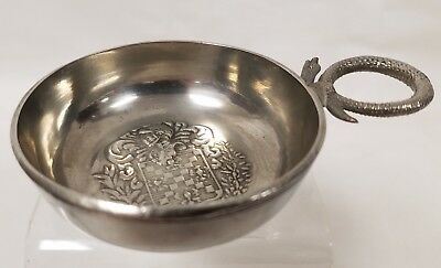 Antique Pewter Wine Taster with Knight Motif and Hallmarks