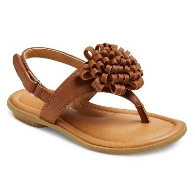 79a61caeb3c7 Cat & Jack Megs Girls Shoes / Brown Thong Flower Comfort Sandals / Toddler  ...