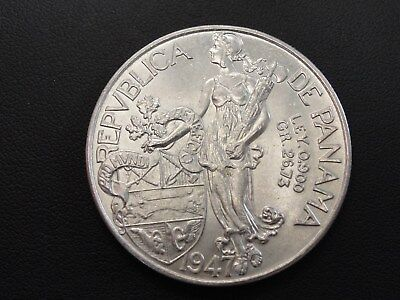 1947 Panama Balboa Silver Coin * High Grade With Luster * #1 Of 4