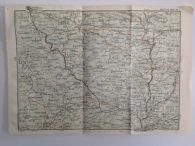 Devon & Cornwall, Barnstaple & Exeter 1908 Antique Map, Bartholomew,  Original