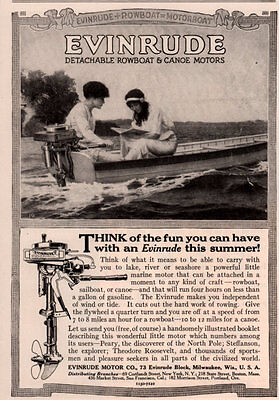 Ad Lot Of 2 1915 -16 Ads Evinrude Boats Beautiful Women