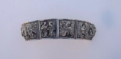 Antique Asian Burmese Buddhist Gods Repousse Sterling Silver Wide Heavy Bracelet
