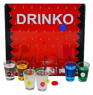 DRINKO Adult Shot Glass Drinking Game 6 Glasses Playing Board with Acrylic Cover