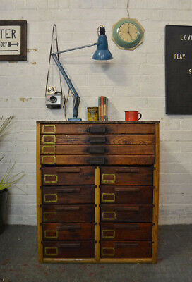 Vintage Industrial Wooden Bank of Drawers Haberdashery Chest Sideboard
