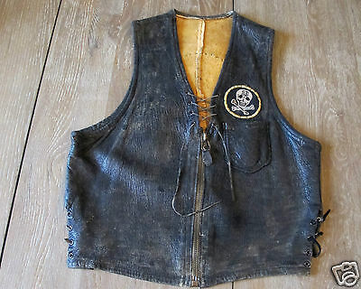 Vintage 1950 Motorcycle Club  Skull Biker Vest Patches