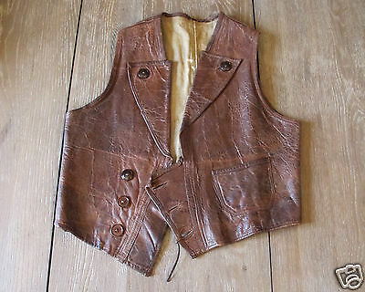 Vintage 1930s brown leather biker Vest