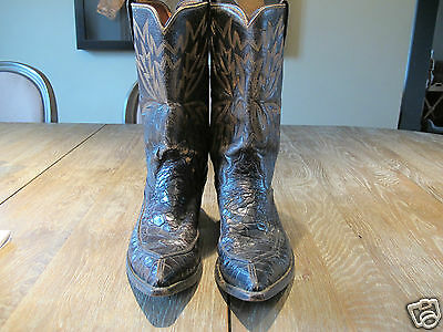 Vintage 70' Justin Sea Alligator FULL UPPERS & LOWERS Cowboy Boots Mens 8D