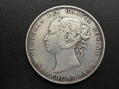 1874 Newfoundland 50 Fifty Cents Silver Coin * Only 80,000 Minted * #1
