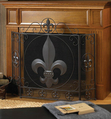 Fleur De Lis Themed Tri-Fold Fireplace Screen with Metal Flourishes
