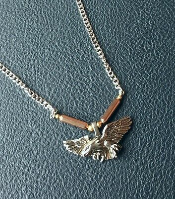 Mens Vintage New Old Stock Pewter Wing Span Eagle Signed Necklace Usa Made