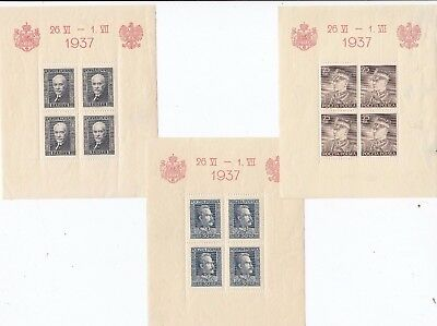 Stamps Poland set of 3 Famous leaders 1937 mini sheets
