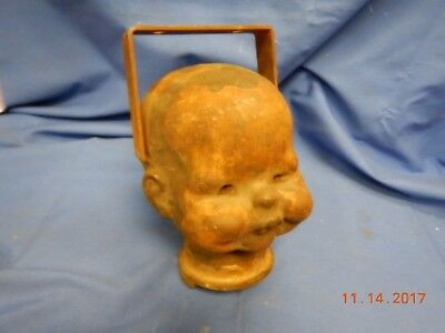Antique Industrial Baby Doll Head Mold Brass Creepy Oddity Macabre Moving Eye 64