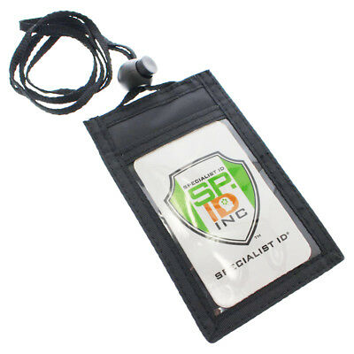 Slim ID Badge Holder Neck Wallet with Vertical Front Display & Zipper Pocket