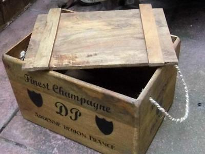 Vintage Style Wood Storage Box Crate & Lid *french Champagne*rustic Rope Handles