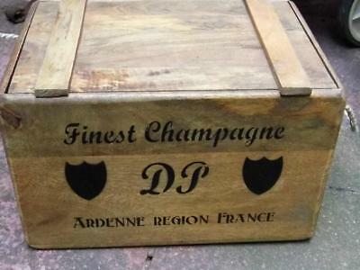 Fabulous Vintage Style Rustic Wood Storage Box Crate & Lid *french Champagne*