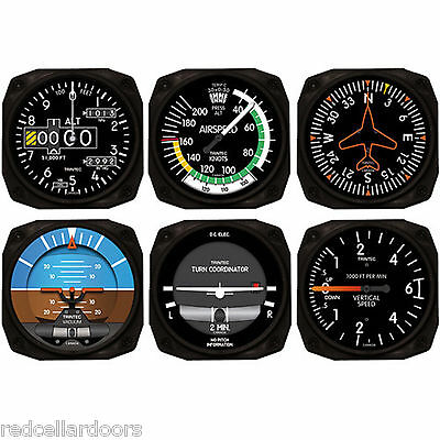 New Trintec Aircraft Instrument Coaster Set of 6 2060 Navigator Coasters Aviator