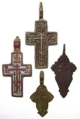 Ancient lot of 4 bronze Believer crosses Middle Ages. #109