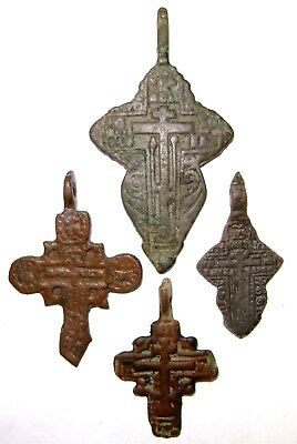 Ancient lot of 4 bronze Believer crosses Middle Ages. #110