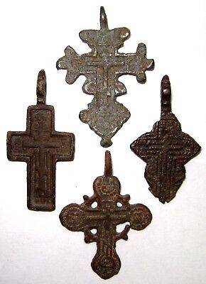 Ancient lot of 4 Rare bronze Believer crosses Middle Ages. #112