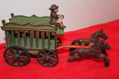 Genuine Vintage Antique Cast Iron Circus Cage Horse Drawn Wagon & Driver Fast Sh