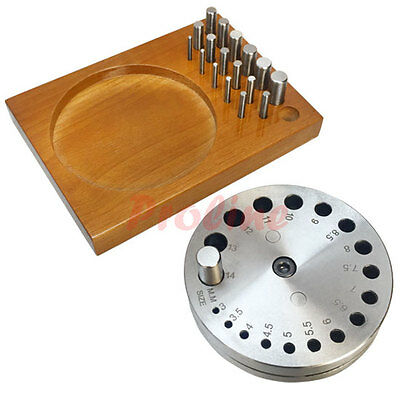 18 Pc 3-14mm Round Disc Cutter Set w/ Wooden Base Jewelers Metal Hole Puncher