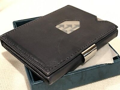 Exentri Trifold Leather Wallet Card 100% Leather Norway Design~ Blue   NEW!