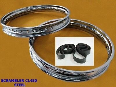 "Honda Scrambler Cl450  F19&r18"" Steel Wheel Rim Set + Tape Rubber #bi1061#"