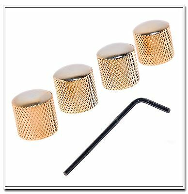 4pcs Bronze Dome Guitar Knob Screw Style Solid Shaft Gold for Guitar or Bass