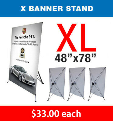 "X Banner Stand Tripod Trade Show Display Large 48"" x 78"" - Qty 4"