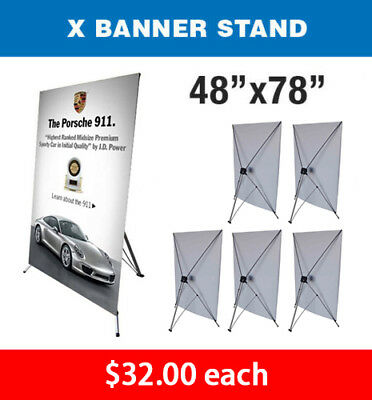 "X Banner Stand Tripod Trade Show Display Large 48"" x 78"" - Qty 6"
