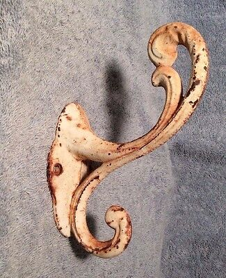 Large Vintage Heavy Cast Iron Antique White Rusty Victorian Scroll Wall Hook