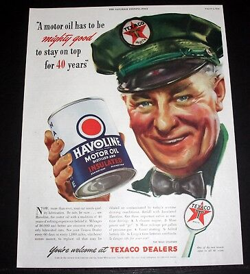1944 Wwii Magazine Print Ad, Havoline Motor Oil, Mighty Good To Stay On Top Art!