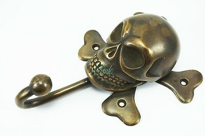 Skull Harley Davidson Door Knocker Vintage Antique Hook Solid Brass Tattoo
