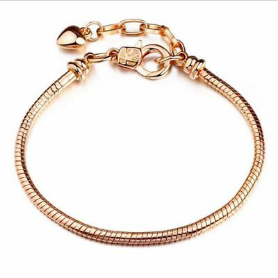 Fashion Copper Rose Gold plated Snake Chain Screw Bracelet Fit European Charms