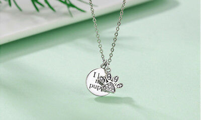 925 Sterling Silver Round I love my puppy with paw print necklace