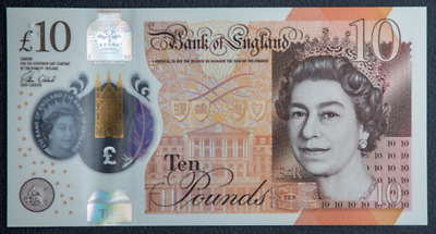 New Polymer 10 Pound Note England Great Britain UK UNC banknote