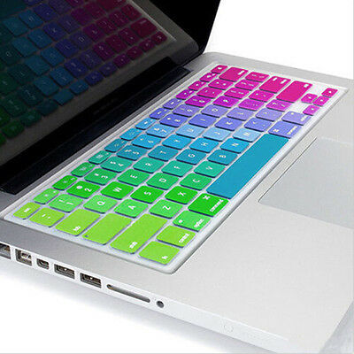 "Silicone Rainbow Keyboard Cover Skin for laptop Macbook Air Pro13""15""17"" Soft 0F"