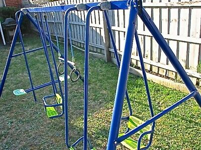 Hills Playtime 4 Swing Set Blue & Green New Parts Used