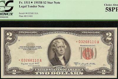 1953B Star $2 Dollar Bill United States Legal Tender Red Seal Note Money Pcgs 58
