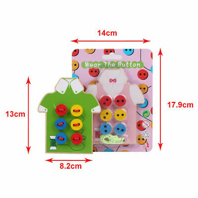 Montessori Kids Educational Toys Beads Lacing Sew On Wooden Board Toys